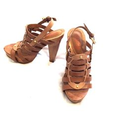 Michael Kors wooden heel leather sandals Michael Kors heeled sandals Leather Straps Wood heel Rubber sole Size 7 Used 1 time Michael Kors Shoes Heels