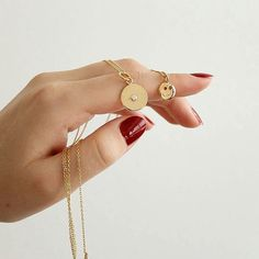 """""""A few of you girls have been getting this super fun combination lately  Coin + Smiley necklaces in Gold Vermeil."""""""