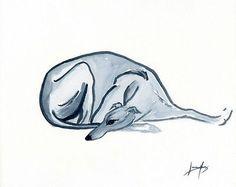 PAINTING GREYHOUND WHIPPET LURCHER 6704 Dianne Heap ART GALGO ITALIAN DOG PRINT