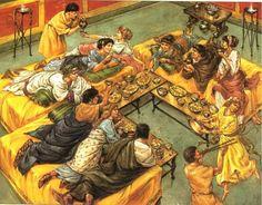 A Roman Dinner Party. Artwork by Richard Hook.