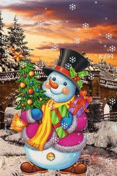 Download Animated 320x480 «Snowman» Cell Phone Wallpaper. Category: Holidays