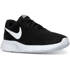Nike Women's Tanjun Casual Sneakers from Finish Line ($65) ❤ liked on Polyvore featuring shoes, sneakers, nike footwear, nike shoes, nike sneakers, nike and nike trainers