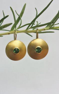 +Turmalin+Ohrhänger+~DISKUS~+in+750+Gold++de+Black+Lotus+sur+DaWanda.com