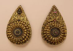 Pair of Oversize Earrings for an Image Tibet, 16th-17th century Jewelry and Adornments; earrings Gilt copper repoussé with turquoise and clear stones with multicolored foil a): 11 x 7 x 2 3/4 in. (27.94 x 17.78 x 6.99 cm); b): 11 1/8 x 7 1/8 x 2 3/4 in. (28.26 x 18.1 x 6.99 cm)