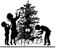 This is a cute Christmas Morning Silhouette Image! This is a black and white illustration of a darling Silhouette showing 3 Children on Christmas morning, as they are selecting Gifts from under the Tree! This one was scanned from a recent addition to my c Christmas Tree Trimming, Christmas In July, Christmas Images, Christmas Morning, All Things Christmas, Winter Christmas, Vintage Christmas, Xmas, Christmas Clipart
