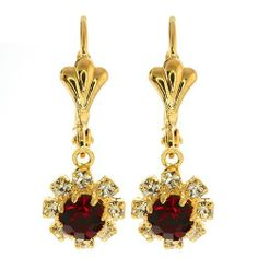 """3/4"""" Red Round Cubic Zirconia CZ Flower Gold Plated Earrings Gem Stone King. $9.99. 2.30 grams. 3/4 Inches. Red Cubic Zirconia (CZ)"""