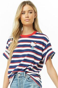 Shop a variety of styles in women's tops at Forever Find knit and woven blouses, cami's, tees, sweaters, short and long sleeve tops for women! Hello Kitty Clothes, Kawaii Clothes, Kawaii Fashion, Striped Tee, Long Sleeve Tops, Latest Trends, Cute Outfits, Tees, Shirts