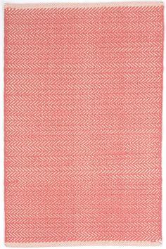 Dash and Albert stair runner Herringbone Coral Woven Cotton Rug
