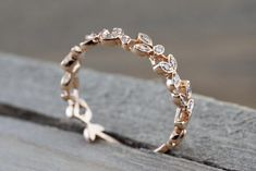 14 kt Rose Gold Diamond Leaf Petal Vine Vintage Design Rope Classic Milgrain Etching Eternity - Brilliant Facets