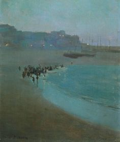 thusreluctant:  Beach at Dusk, St Ives Harbour by William Evelyn Osborn
