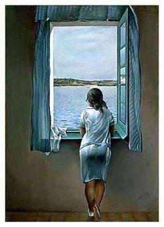 Mujer mirando por la ventana, de Dalí.