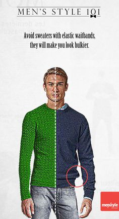 Men's style - How to avoid looking chunky in a sweater.