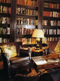 My dream library...Oriental rugs, worn leather chairs, dark wood ceiling-high stacks of books...dark, rich colors...