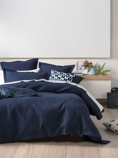 DOONA COVERS DELUXE WAFFLE INDIGO QUILT COVER SETS SUPER KING
