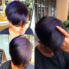 Pretty blue and purple highlights Hair Color Purple, Cool Hair Color, Color Black, Pixie Hairstyles, Pretty Hairstyles, Short Hair Cuts, Short Hair Styles, Haircut And Color, Hair Today