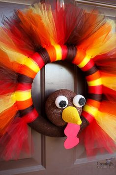 Easy Thanksgiving Turkey Wreath craft for your front door! - G Burress - Easy Thanksgiving Turkey Wreath craft for your front door! DIY Turkey Tulle Wreath Best Thanksgiving Wreath for your door - Thanksgiving Crafts For Kids, Thanksgiving Wreaths, Thanksgiving Decorations, Holiday Crafts, Thanksgiving Turkey, Fall Crafts, Winter Wreaths, Spring Wreaths, Turkey Decorations