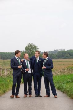 Blue Suits Green Tie Groom Groomsmen Tan Shoes Reiss Vintage Blue Country Farm Wedding http://kathrynedwardsphotography.com/