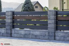 Modular fence system ROMA Classic - Concrete fences - producer of fences, posts, blocks and hollow bricks - JONIEC House Fence Design, Wood Fence Design, Modern Fence Design, Privacy Fence Designs, Concrete Design, Concrete Fence Posts, Brick Fence, Front Yard Fence, Concrete Fence Panels