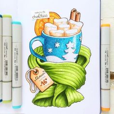 It's really cold Copic Marker Drawings, Sketch Markers, Copic Art, Copic Sketch, Sweet Drawings, Food Sketch, Pen Illustration, Christmas Drawing, Art Graphique