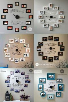 Time Spent With Family Is Worth Every Second - Photo Wall Clock # DIY Home Decor frames Time Spent with Family is Worth Every Second - Photo Wall Clock - Uppercase Living - Candy McSween, Director & Independent Demonstrator Unique Wall Decor, Diy Wall Decor, Diy Room Decor, Living Room Decor, Bedroom Decor, Wall Clock Decor, Living Rooms, Family Rooms, Wall Art