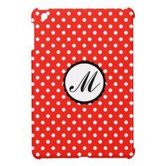 Case iPad Mini Custom Monogram red white dots