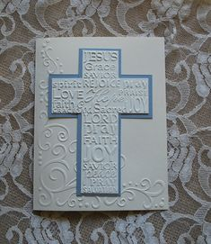 This handmade greeting card measures 5 x 6.5 It is larger than most of my cards that measure 4.25 x 5.  This card is embossed, then overlaid with an embossed cross that is framed in blue. Includes a coordinating embossed envelope as pictured. This card is blank, but convo me if you would like a message printed inside.  The various wording on the cross is as follows:  JESUS Grace SAVIOR spirit, REJOICE, pray LOVE, Hope, PRAISE faith, GRACE, God, Sacred, JOY LORD pray FAITH JOY SAVIOR peace…