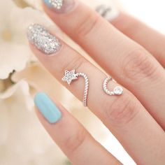 Rhinestone Starfish Flower Butterfly Spiral Pentagram Ring Ring opening joints