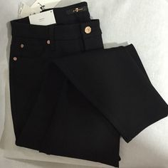 """7 For All Mankind High-Waist Ankle Pants 7 For All Mankind high waist, skinny, ankle pants NWT! Super skinny fit with 5% Spandex for lots of stretch. 25"""" inseam. Super cute rose gold button and rivets make these black pants stand out! Great with a t shirt and sneakers or pretty blouse and wedges, dress up or down! 7 for all Mankind Pants Ankle & Cropped"""
