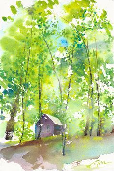 Camping Trip limited edition of 50 fine art giclee prints from my original watercolor Watercolor Pictures, Watercolor Trees, Watercolor Landscape, Landscape Art, Landscape Paintings, Watercolor Paintings, Watercolor Paper, Landscapes, Watercolours