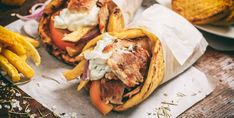 If you've ever tried souvlaki and gyros you'll know it's an unforgettably delicious Greek street food. Here are 10 facts that make it so tasty! Spanish Dishes, Greek Dishes, Shawarma, Greek Recipes, New Recipes, Greek Meals, Halloumi Burger, Salsa Tzatziki, Greek Gyros