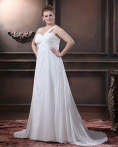 Chiffon Perline una spalla floor-lunghezza Plus Size abito abito da sposa