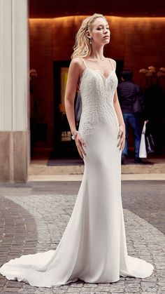eddy k milano bridal 2017 sleeveless spaghetti straps lace bodice sheath wedding dress (md201) mv train