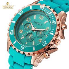 Kingsky Women Fashion Brand Watches Women High Quality Analog Quartz Silicone Watch Ladies Dress Watches Montre Femme
