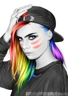 Beautiful. Rainbow hair #Lgbt