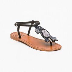 Sandalias, cuero Negro y plateado oscuro