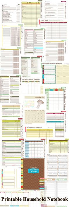 Printable Household Notebook Pages & Forms