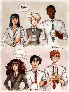 Pansy Parkinson, Draco Malfoy, and Blaise Zabini vs. Hermione Granger, Harry Potter, and Ron Weasley Harry Potter Ron Weasley, Harry Potter Fan Art, Harry Potter World, Pansy Harry Potter, Ron Et Hermione, Fans D'harry Potter, Mundo Harry Potter, Harry Potter Drawings, Harry Potter Universal