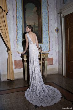 alon livne wedding dresses 2015 white bridal collection luisa sleeveless lace sheath wedding dress train back view train