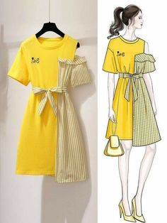 Dress Design Sketches, Dress Design Drawing, Fashion Design Drawings, Fashion Sketches, Drawing Art, Girls Fashion Clothes, Teen Fashion Outfits, Cute Fashion, Trendy Outfits