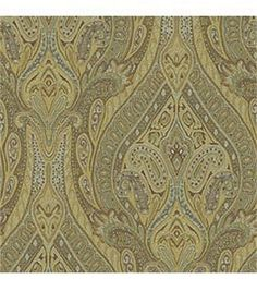 Upholstery Fabric-Waverly Pathways Karaj Paisley Mineral