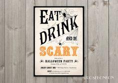 Printable Halloween party invitation orange and by RoseBonBonShop, $13.00