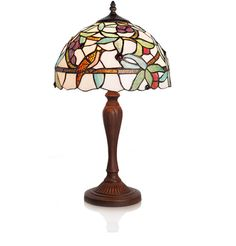"""21"""" H Stained Glass Cardinal of the Vines Table Lamp
