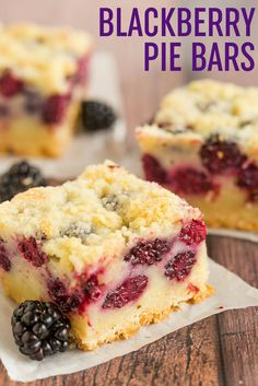Blackberry Pie Bars - A shortbread crust, a creamy, custard-like blackberry pie filling, and a crumb topping. Delicious alternative to blackberry pie! via @browneyedbaker