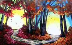 Are you going to paint Which Path to Choose (Date Night) at Pinot's Palette - Allen to discover my inner artist! Forest Painting, Autumn Painting, Acrylic Painting Canvas, Diy Painting, Great Paintings, Fall Paintings, Dragonfly Painting, Couple Painting, Halloween Door Decorations