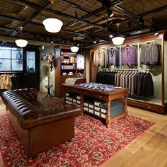 This is the floor of our new Tokyo shop in Futakotamagawa. Houses our tailored clothing and Tailor studio. by freemanssportingclub Fashion Shop Interior, Clothing Store Interior, Boutique Interior, Shop Interior Design, Boutique Design, Suit Stores, Tailor Shop, Retail Store Design, Store Interiors