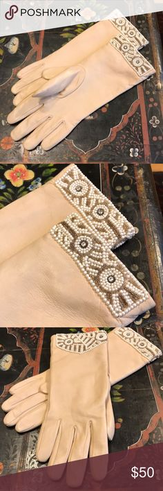 Vintage Beaded leather gloves Buttery soft leather gloves with beaded cuffs. In excellent condition. No signs of wear. Size L/XL. Simply stunning. Soft polyester lining. Accessories Gloves & Mittens