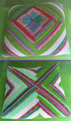 Knitted cushion using continuous log-cabin (patchwork) technique - with mitred squares in the centre. (mine)