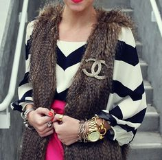 Chevron, Chanel, Faux Fur vest, hot pink, chunky jewelry, need I say more