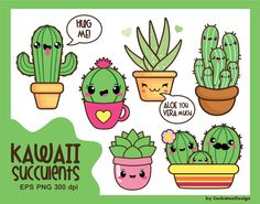 50% OFF SALE, Kawaii cactus, kawaii clipart, kawaii cacti, kawaii succulent, kawaii aloe, cactus clipart, cute cactus, commercial use