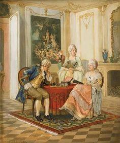 LUDWIG AUGUSTIN, (AUSTRIAN, 1882 - 1960), Galanter Herr mit zwei Damen beim Schachspiel in Rokoko-Interieur
